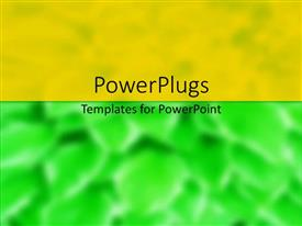 PowerPoint template displaying abstract background with green and orange divisions