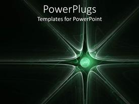 PowerPlugs: PowerPoint template with abstract background with green spiral and sunburst