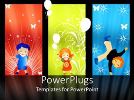 PowerPlugs: PowerPoint template with abstract background with kids, balloons and snow flakes