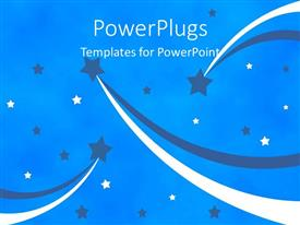 PowerPoint template displaying an abstract background showing lots of blue and white stars
