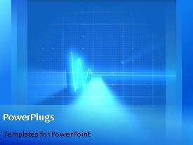 PowerPoint template displaying abstract background showing network waves in oscilloscope