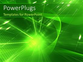 PowerPlugs: PowerPoint template with abstract background with sparkle from green sphere
