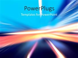 PowerPoint template displaying abstract background with wavy glowing lines and motion blur