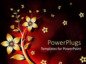 PowerPlugs: PowerPoint template with abstract background yellow white flower withe red and black background