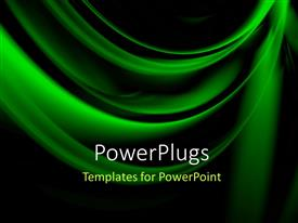 PowerPoint template displaying abstract beautiful green folds overblack background