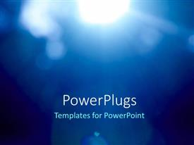 PowerPoint template displaying abstract blue background with bright glow of light