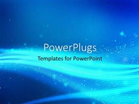 PowerPoint template displaying abstract blue background with sparkles and swirling bright lines