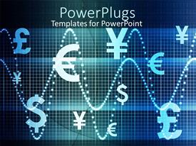 PowerPoint template displaying abstract blue colored depictions of several different world currencies