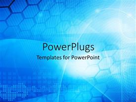 PowerPlugs: PowerPoint template with abstract blue colored technology theme with curves and hexagon shapes