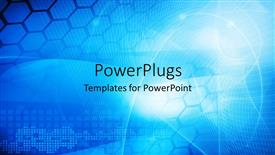 PowerPoint template displaying abstract blue colored technology theme with curves and hexagon shapes