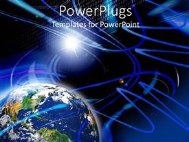 PowerPlugs: PowerPoint template with abstract of blue earth globe on a black and blue background