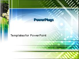 PowerPoint template displaying abstract blue and green colors north american technology circuit board