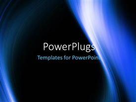 PowerPoint template displaying abstract blue light waves on black solid background
