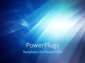 PowerPoint template displaying abstract blue patterns in front of bright light