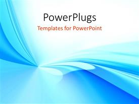 PowerPlugs: PowerPoint template with abstract blue and teal waves radiating from a point on white background