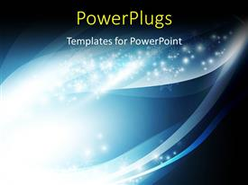 PowerPlugs: PowerPoint template with abstract blue wave pattern with bright white snowflakes