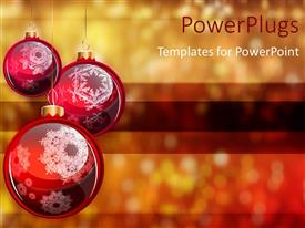 Colorful slides having abstract blurry background with three Christmas ornaments hanging