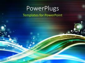 PowerPlugs: PowerPoint template with abstract bubbles and wave pattern on striped blue background