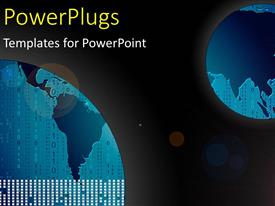 PowerPlugs: PowerPoint template with two blue earth globes with binary numbers in space
