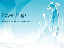 PowerPlugs: PowerPoint template with abstract chart of a presentation with blue upward arrow