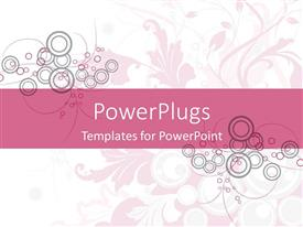 PowerPoint template displaying abstract circles and floral design on white and pink background