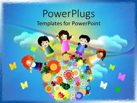 PowerPlugs: PowerPoint template with abstract cloudy sky with little kids and butterflies