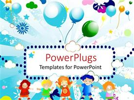 PowerPlugs: PowerPoint template with abstract colorful design with kids and balloons in the sky