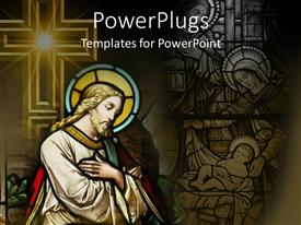 PowerPlugs: PowerPoint template with abstract colorful painting of Jesus Christ with a lage yellow cross