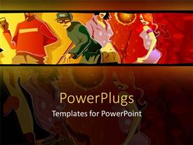 PowerPoint template displaying abstract colorful painting of people in a party dancing