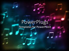 PowerPlugs: PowerPoint template with abstract colorful shapes of musical notes in a glowing background