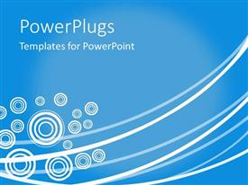 PowerPoint template displaying abstract concentric white circles and curvy lines on blue surface