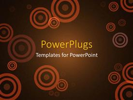 PowerPlugs: PowerPoint template with abstract copper circles on brown background