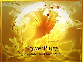 PowerPlugs: PowerPoint template with abstract deconstructed globe on gold background