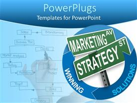 PowerPlugs: PowerPoint template with abstract depiction with arrow diagrams and words in blue background