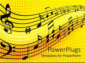 PowerPlugs: PowerPoint template with abstract depiction of black musical notes and lines on a yellow background