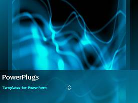 PowerPoint template displaying abstract depiction with blue waves on black surface