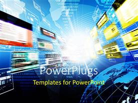 PowerPlugs: PowerPoint template with abstract depiction of blurred media streams and transparent depiction of globe in the corner on network representation on background