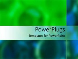 PowerPoint template displaying abstract depiction of blurry green and blue colored background