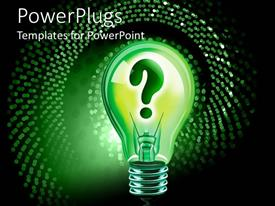 PowerPlugs: PowerPoint template with abstract depiction of a bulb with green question mark