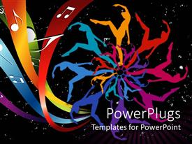 PowerPlugs: PowerPoint template with abstract depiction of colorful painting of people dancing in space