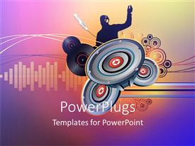 PowerPlugs: PowerPoint template with abstract depiction of a dj with lots of speakers