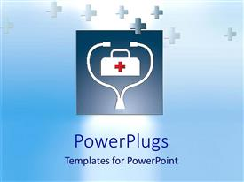 PowerPlugs: PowerPoint template with abstract depiction of a first aid box with many crosses
