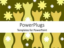 PowerPoint template displaying abstract depiction of flower designs on a green background
