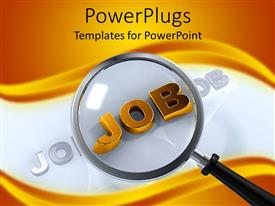 PowerPlugs: PowerPoint template with abstract depiction of a gold colored job text with a magnifying glass