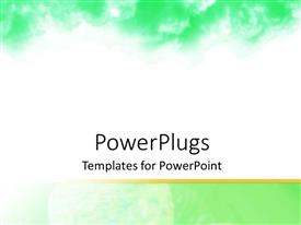 PowerPoint template displaying abstract depiction of green clouds on a white background