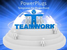 PowerPoint template displaying abstract depiction of half globe on top of circular shaped stairs with three white figures on stairs and big blue figure in front of group of white figures and blue teamwork word