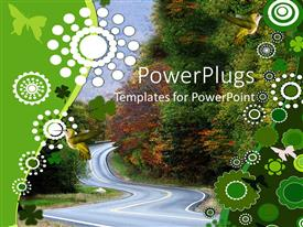 PowerPlugs: PowerPoint template with abstract depiction of a highway with trees and birds