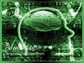 PowerPlugs: PowerPoint template with abstract depiction of human head with focus on brain and letters on green background