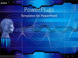 PowerPlugs: PowerPoint template with abstract depiction of a human mesh head with binary codes