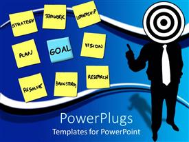 PowerPlugs: PowerPoint template with abstract depiction of human with a target head and sticky notes